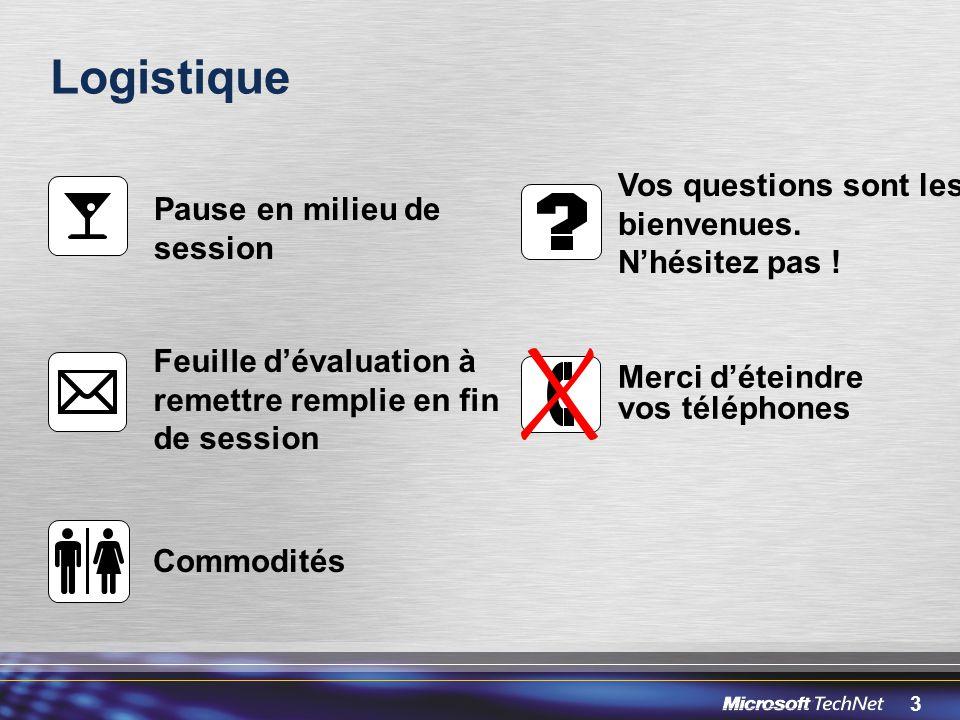 3 Logistique Pause en milieu de session Vos questions sont les bienvenues. Nhésitez pas ! Feuille dévaluation à remettre remplie en fin de session Com