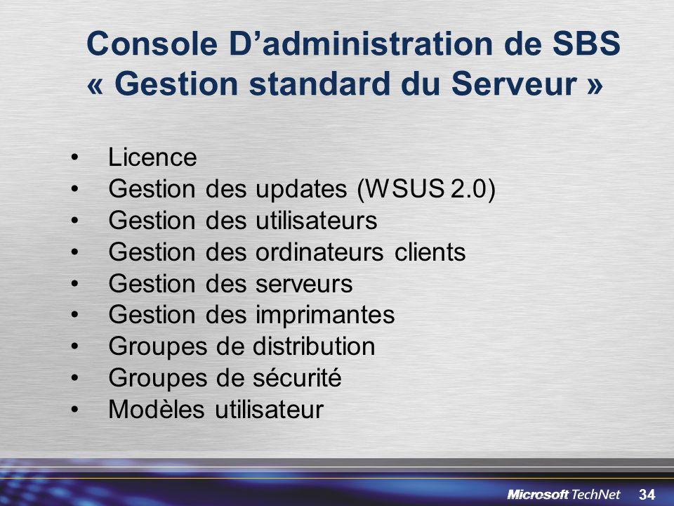 34 Console Dadministration de SBS « Gestion standard du Serveur » Licence Gestion des updates (WSUS 2.0) Gestion des utilisateurs Gestion des ordinate