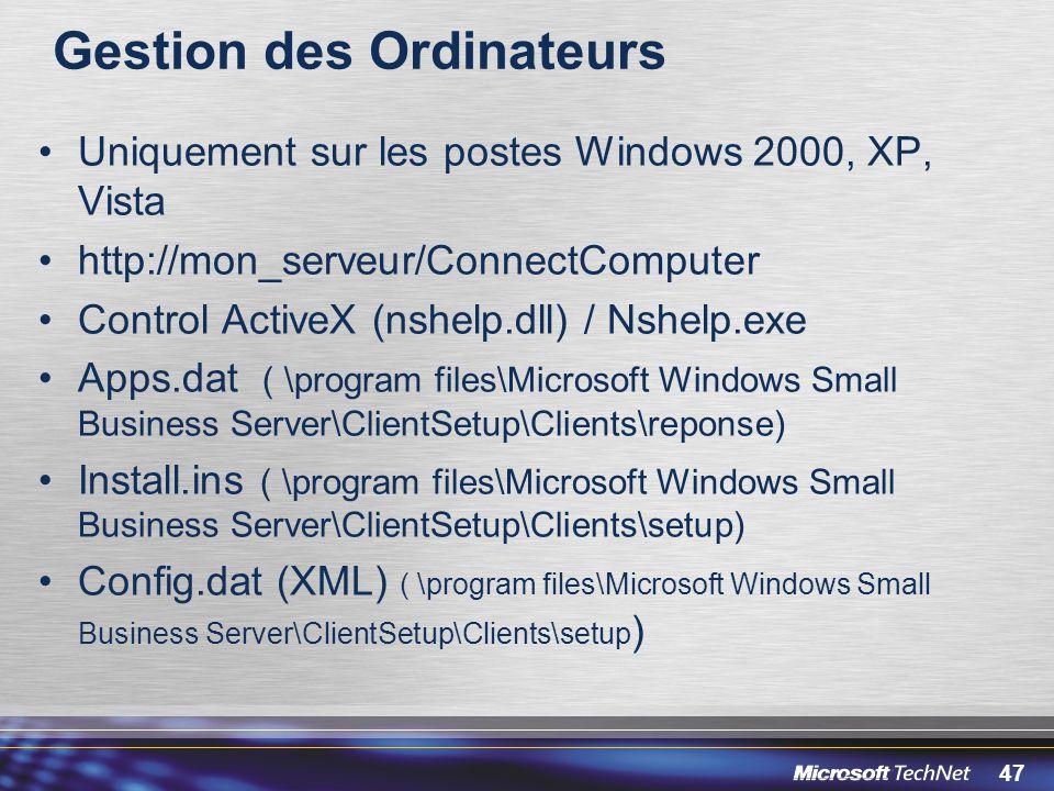 47 Gestion des Ordinateurs Uniquement sur les postes Windows 2000, XP, Vista http://mon_serveur/ConnectComputer Control ActiveX (nshelp.dll) / Nshelp.