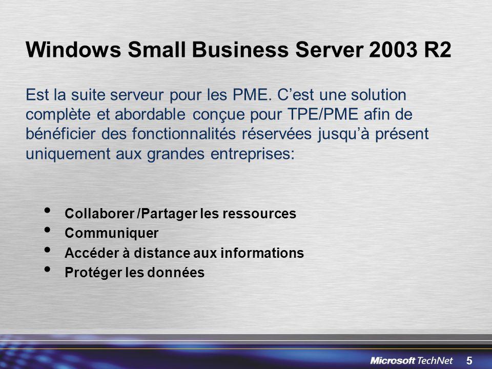 5 Windows Small Business Server 2003 R2 Est la suite serveur pour les PME. Cest une solution complète et abordable conçue pour TPE/PME afin de bénéfic