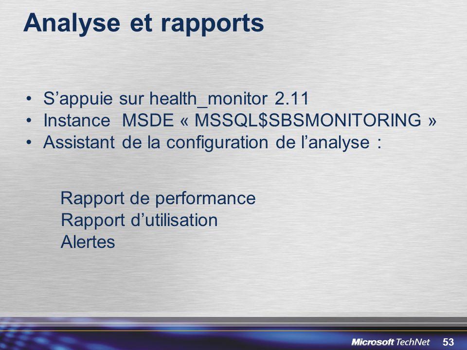 53 Analyse et rapports Sappuie sur health_monitor 2.11 Instance MSDE « MSSQL$SBSMONITORING » Assistant de la configuration de lanalyse : Rapport de pe