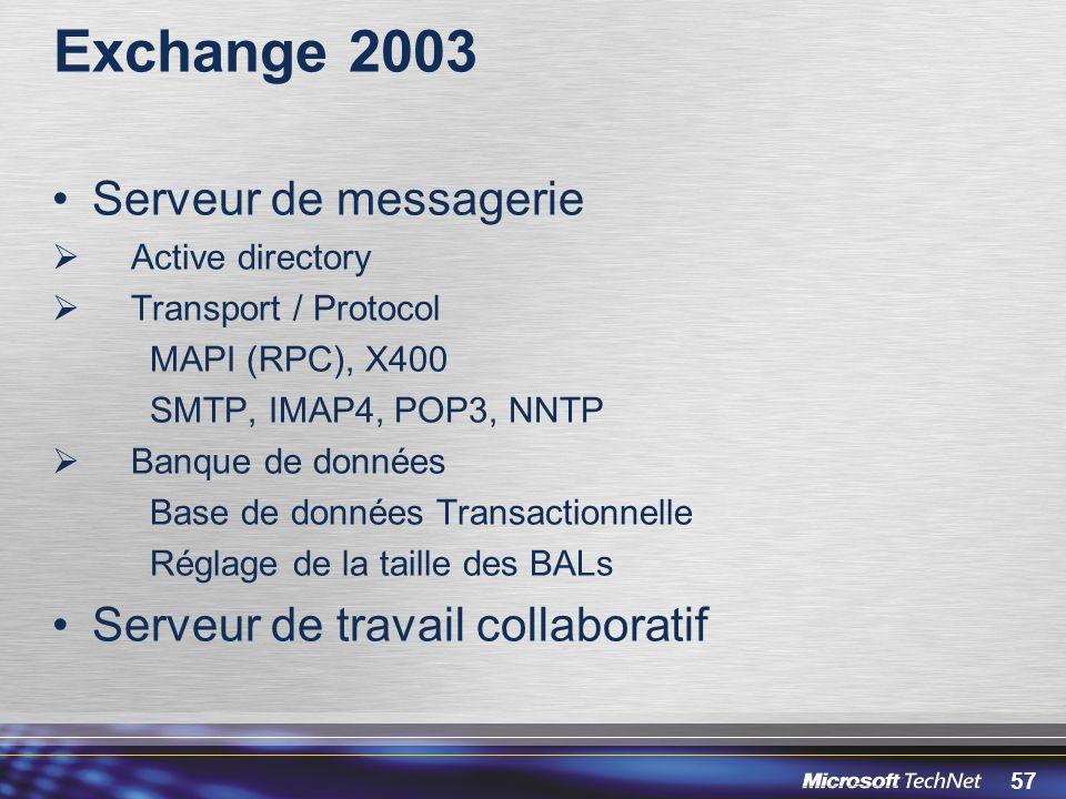 57 Exchange 2003 Serveur de messagerie Active directory Transport / Protocol MAPI (RPC), X400 SMTP, IMAP4, POP3, NNTP Banque de données Base de donnée