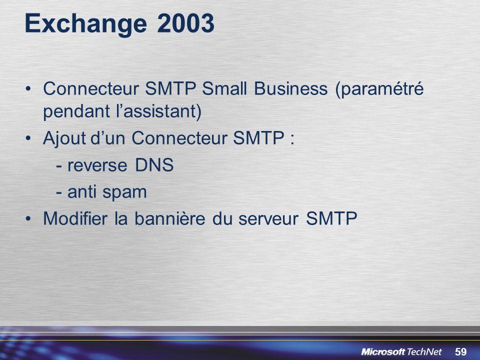 59 Exchange 2003 Connecteur SMTP Small Business (paramétré pendant lassistant) Ajout dun Connecteur SMTP : - reverse DNS - anti spam Modifier la banni