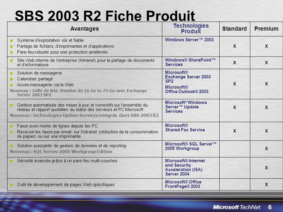 6 SBS 2003 R2 Fiche Produit Avantages Technologies Produit StandardPremium Système dexploitation sûr et fiable Partage de fichiers, dimprimantes et da