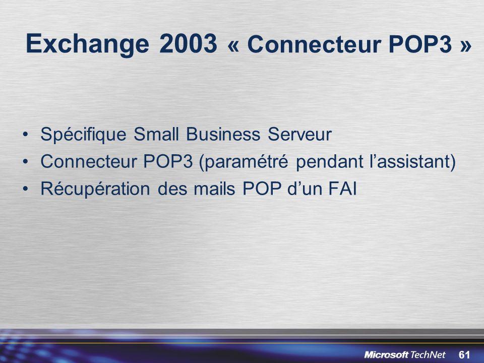 61 Exchange 2003 « Connecteur POP3 » Spécifique Small Business Serveur Connecteur POP3 (paramétré pendant lassistant) Récupération des mails POP dun F