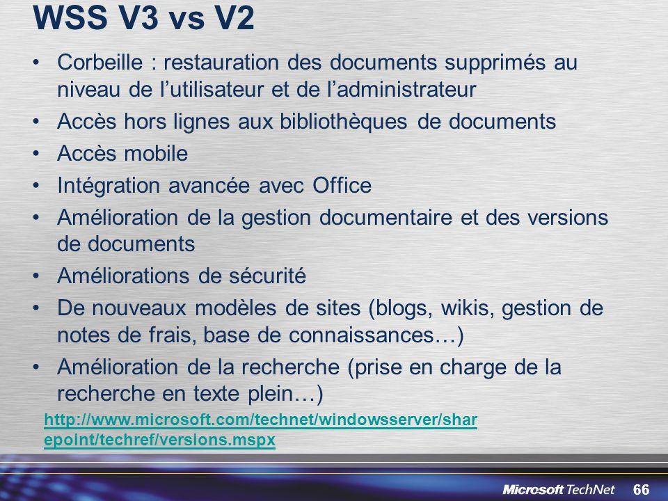66 WSS V3 vs V2 Corbeille : restauration des documents supprimés au niveau de lutilisateur et de ladministrateur Accès hors lignes aux bibliothèques d