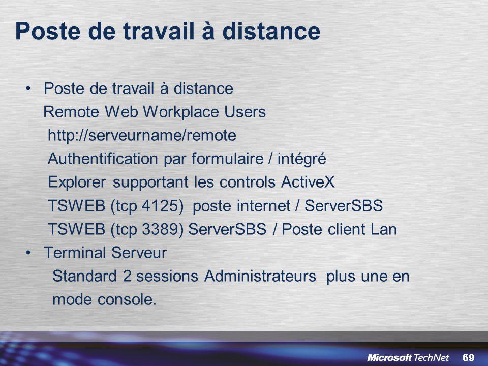 69 Poste de travail à distance Remote Web Workplace Users http://serveurname/remote Authentification par formulaire / intégré Explorer supportant les