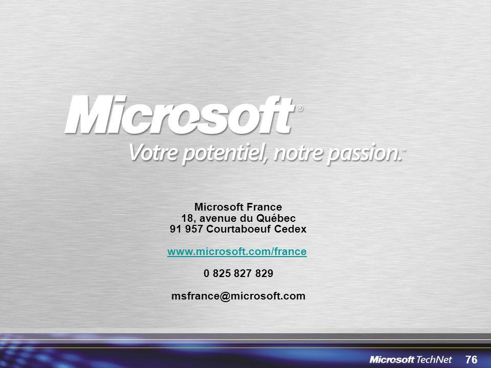 76 Microsoft France 18, avenue du Québec 91 957 Courtaboeuf Cedex www.microsoft.com/france 0 825 827 829 msfrance@microsoft.com