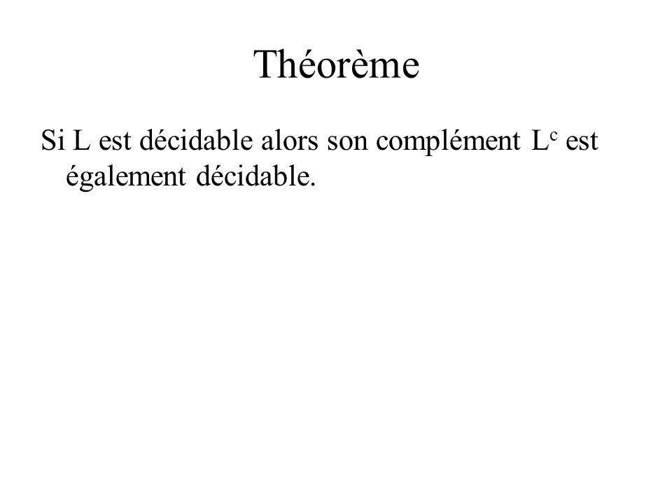 Théorème Si L est décidable alors son complément L c est également décidable.