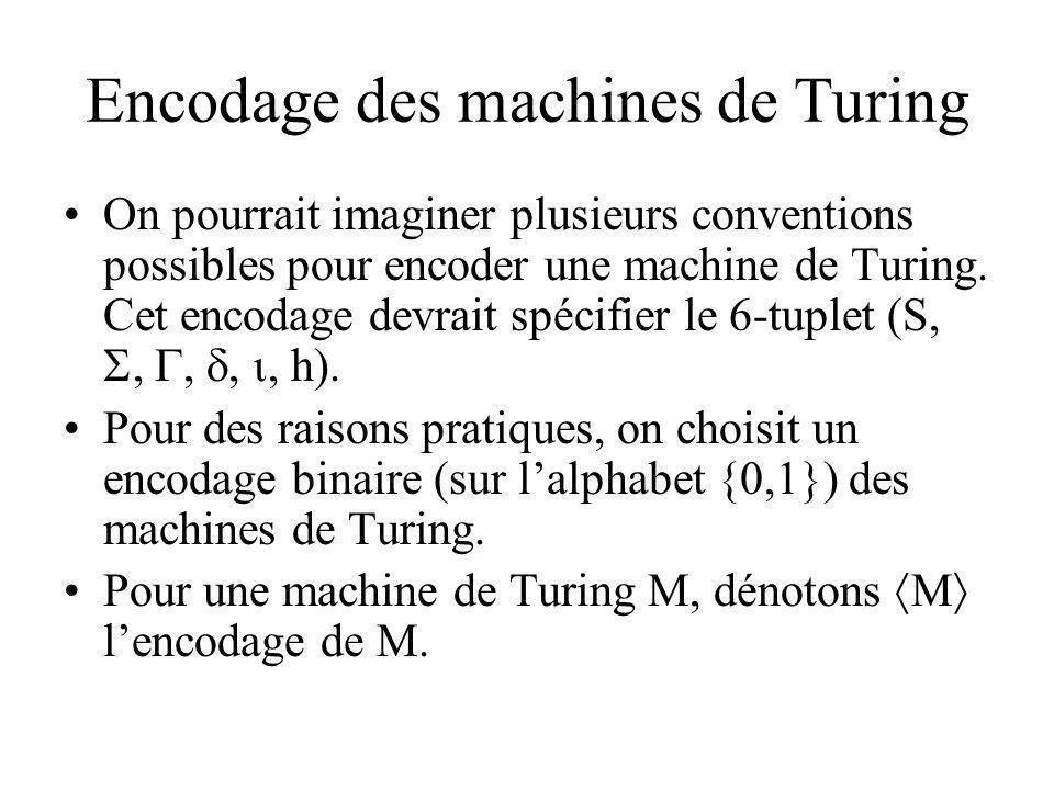 Encodage des machines de Turing On pourrait imaginer plusieurs conventions possibles pour encoder une machine de Turing. Cet encodage devrait spécifie
