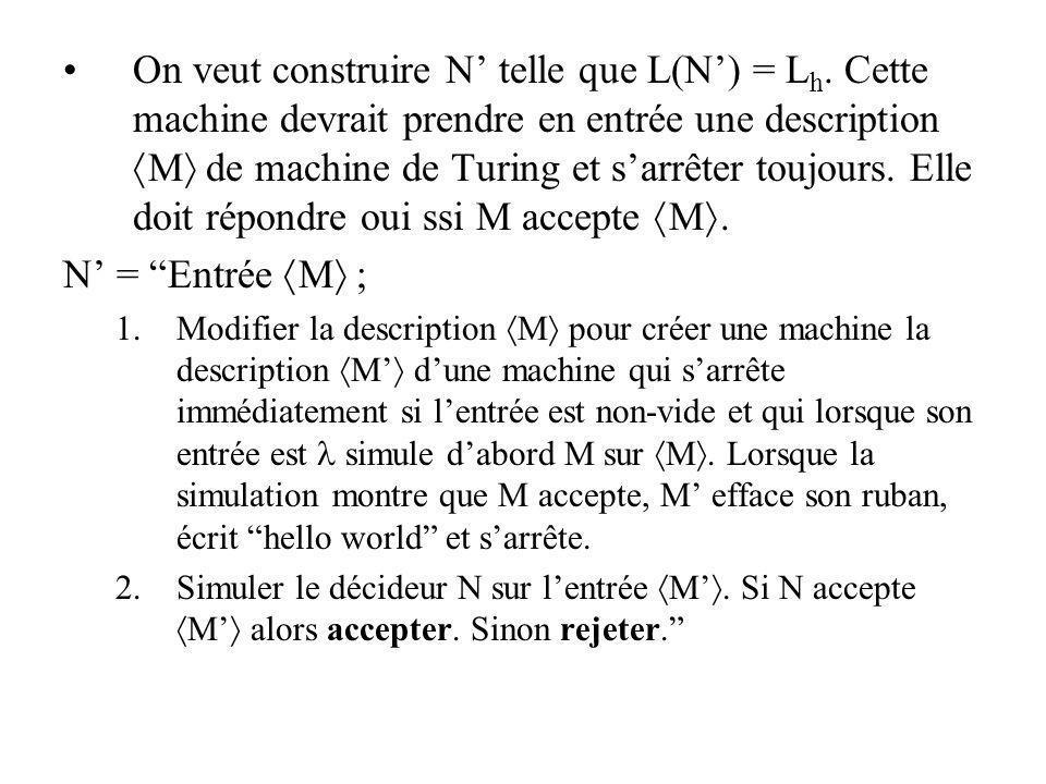 On veut construire N telle que L(N) = L h. Cette machine devrait prendre en entrée une description M de machine de Turing et sarrêter toujours. Elle d