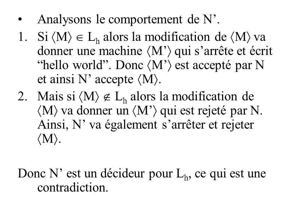 Analysons le comportement de N. 1.Si M L h alors la modification de M va donner une machine M qui sarrête et écrit hello world. Donc M est accepté par