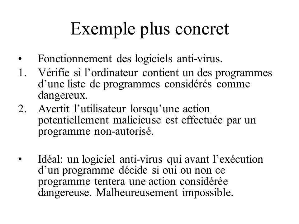 Exemple plus concret Fonctionnement des logiciels anti-virus. 1.Vérifie si lordinateur contient un des programmes dune liste de programmes considérés
