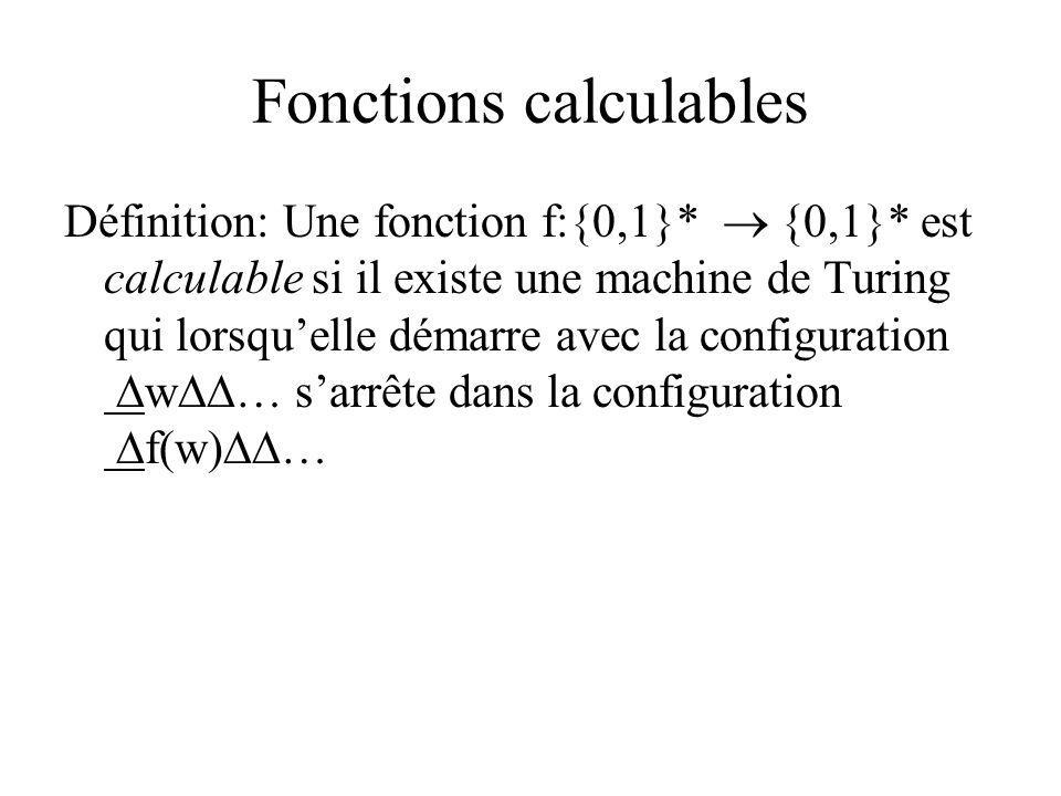 Fonctions calculables Définition: Une fonction f:{0,1}* {0,1}* est calculable si il existe une machine de Turing qui lorsquelle démarre avec la config