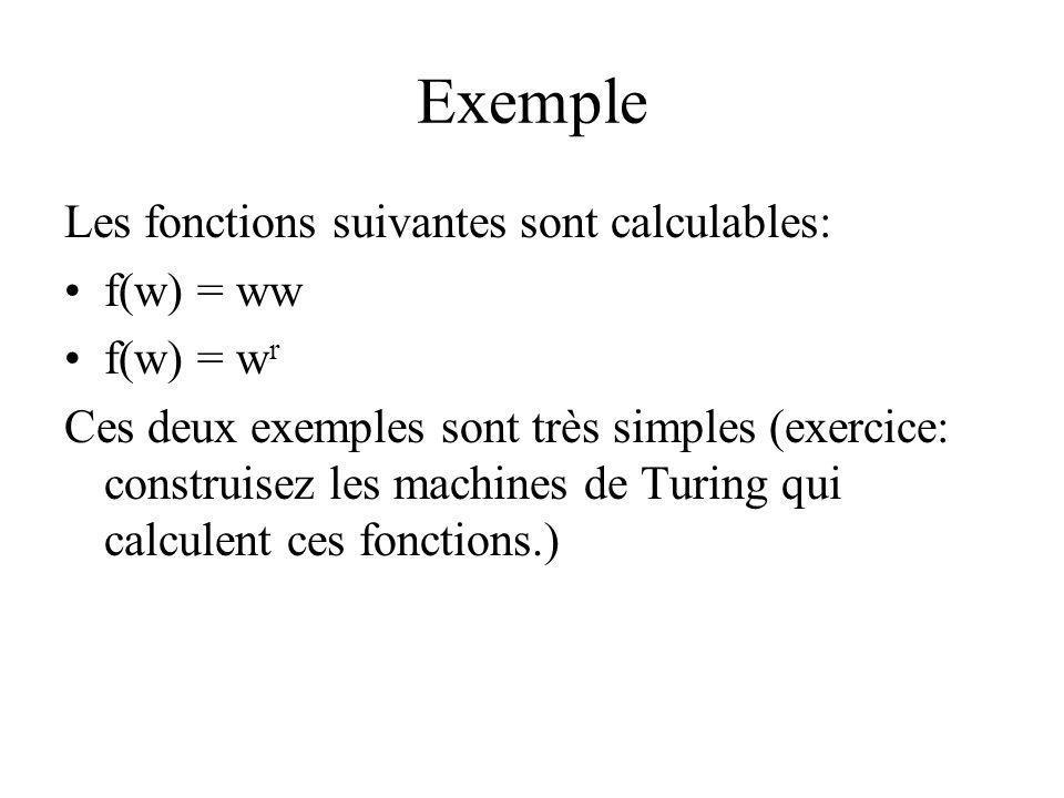 Exemple Les fonctions suivantes sont calculables: f(w) = ww f(w) = w r Ces deux exemples sont très simples (exercice: construisez les machines de Turi