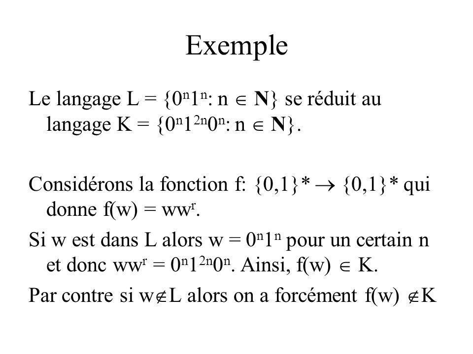 Exemple Le langage L = {0 n 1 n : n N} se réduit au langage K = {0 n 1 2n 0 n : n N}. Considérons la fonction f: {0,1}* {0,1}* qui donne f(w) = ww r.