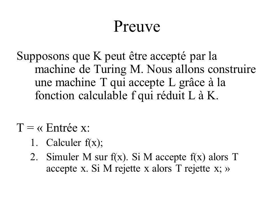 Preuve Supposons que K peut être accepté par la machine de Turing M. Nous allons construire une machine T qui accepte L grâce à la fonction calculable