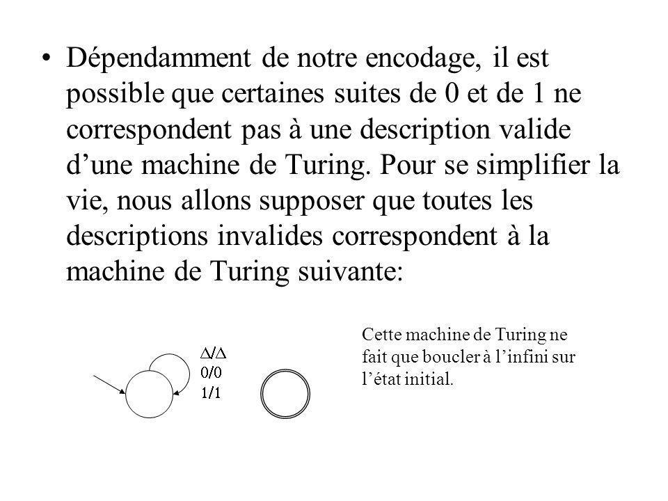 Dépendamment de notre encodage, il est possible que certaines suites de 0 et de 1 ne correspondent pas à une description valide dune machine de Turing