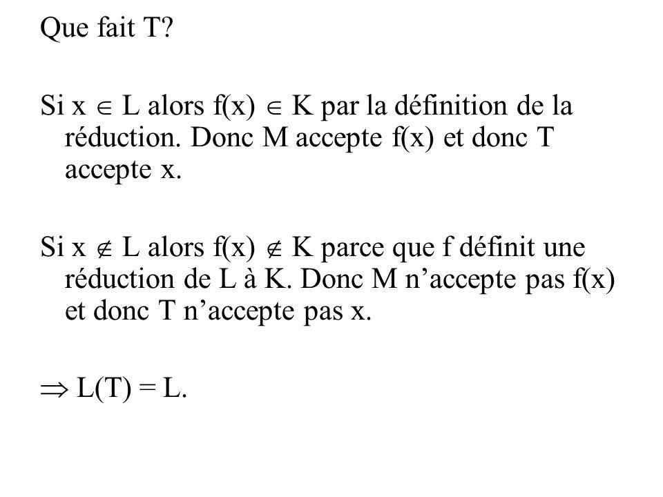 Que fait T? Si x L alors f(x) K par la définition de la réduction. Donc M accepte f(x) et donc T accepte x. Si x L alors f(x) K parce que f définit un