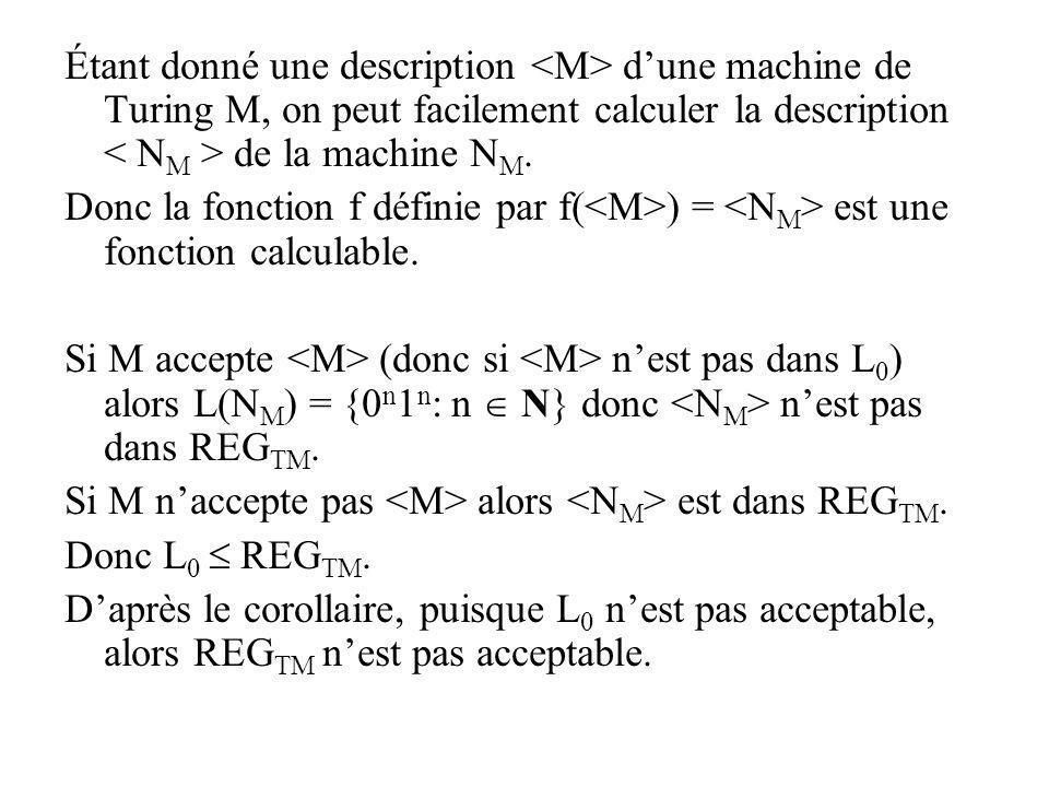 Étant donné une description dune machine de Turing M, on peut facilement calculer la description de la machine N M. Donc la fonction f définie par f(