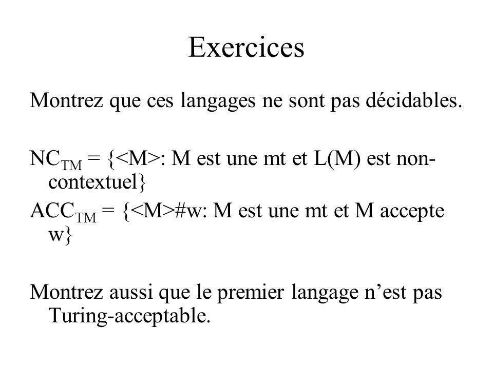 Exercices Montrez que ces langages ne sont pas décidables. NC TM = { : M est une mt et L(M) est non- contextuel} ACC TM = { #w: M est une mt et M acce
