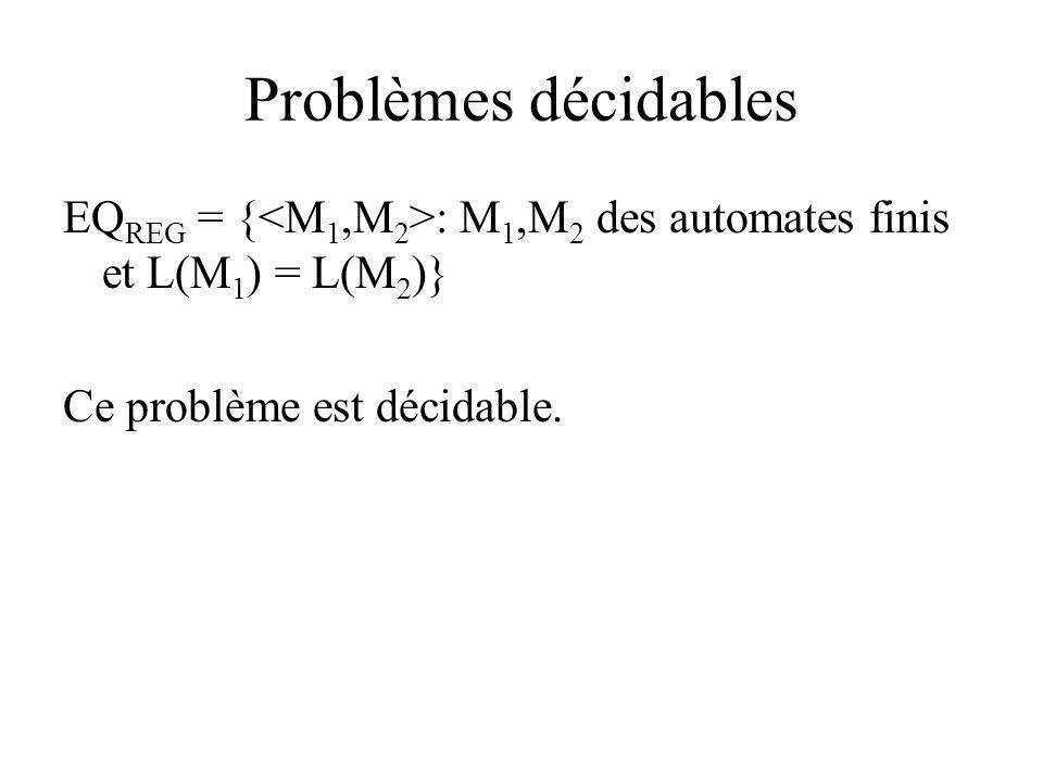 Problèmes décidables EQ REG = { : M 1,M 2 des automates finis et L(M 1 ) = L(M 2 )} Ce problème est décidable.