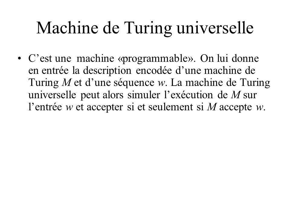 Machine de Turing universelle Cest une machine «programmable». On lui donne en entrée la description encodée dune machine de Turing M et dune séquence