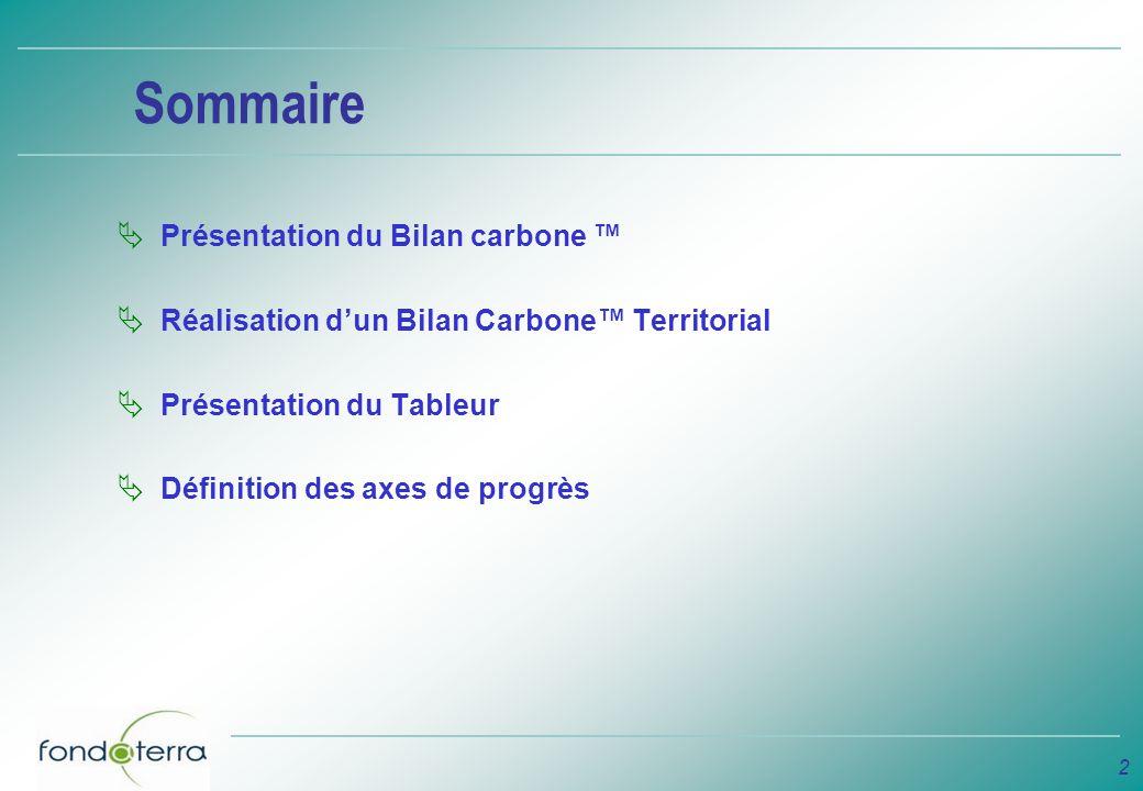 2 Sommaire Présentation du Bilan carbone Réalisation dun Bilan Carbone Territorial Présentation du Tableur Définition des axes de progrès