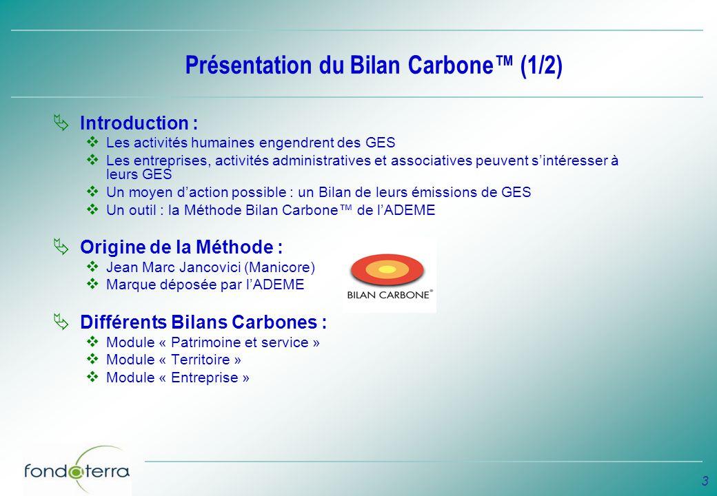 3 Présentation du Bilan Carbone (1/2) Introduction : Les activités humaines engendrent des GES Les entreprises, activités administratives et associati