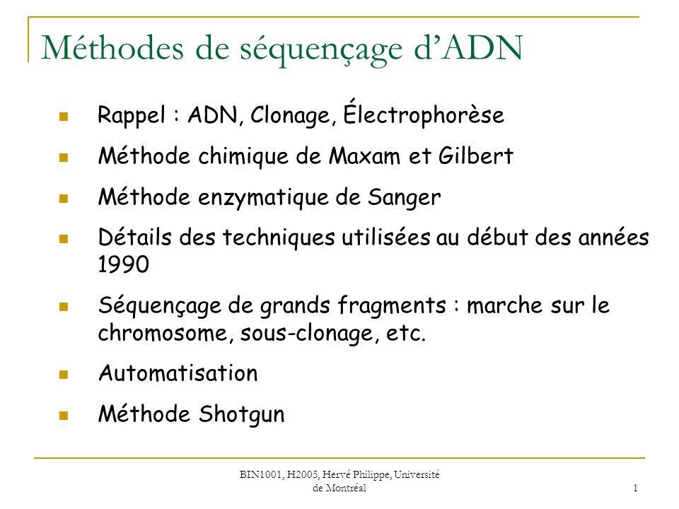 BIN1001, H2005, Hervé Philippe, Université de Montréal 1 Méthodes de séquençage dADN Rappel : ADN, Clonage, Électrophorèse Méthode chimique de Maxam e