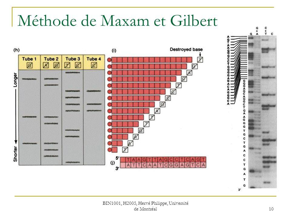 BIN1001, H2005, Hervé Philippe, Université de Montréal 10 Méthode de Maxam et Gilbert