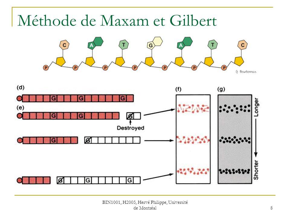 BIN1001, H2005, Hervé Philippe, Université de Montréal 8 Méthode de Maxam et Gilbert