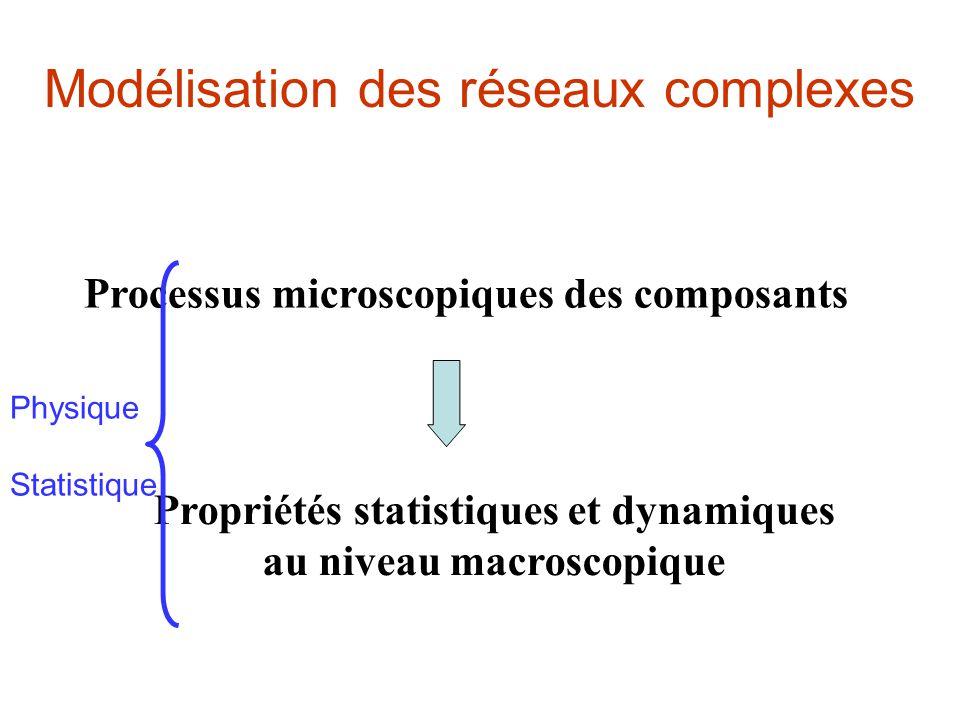 Modélisation des réseaux complexes Processus microscopiques des composants Propriétés statistiques et dynamiques au niveau macroscopique Physique Statistique
