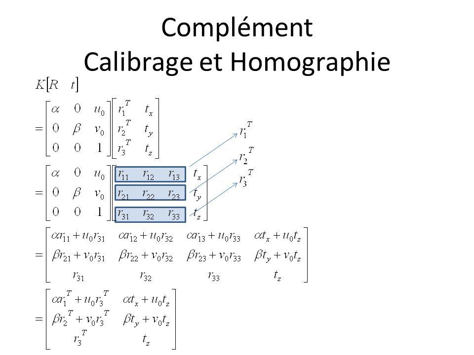 Complément Calibrage et Homographie