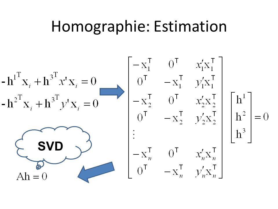 Homographie: Estimation SVD