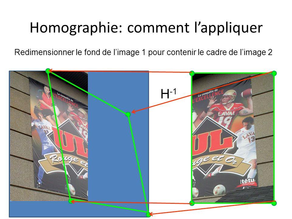 Homographie: comment lappliquer Redimensionner le fond de limage 1 pour contenir le cadre de limage 2 H -1