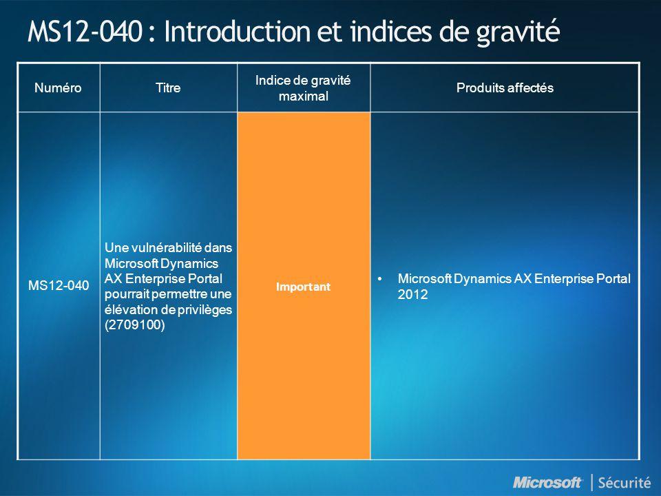 MS12-040 : Introduction et indices de gravité NuméroTitre Indice de gravité maximal Produits affectés MS12-040 Une vulnérabilité dans Microsoft Dynamics AX Enterprise Portal pourrait permettre une élévation de privilèges (2709100) Important Microsoft Dynamics AX Enterprise Portal 2012
