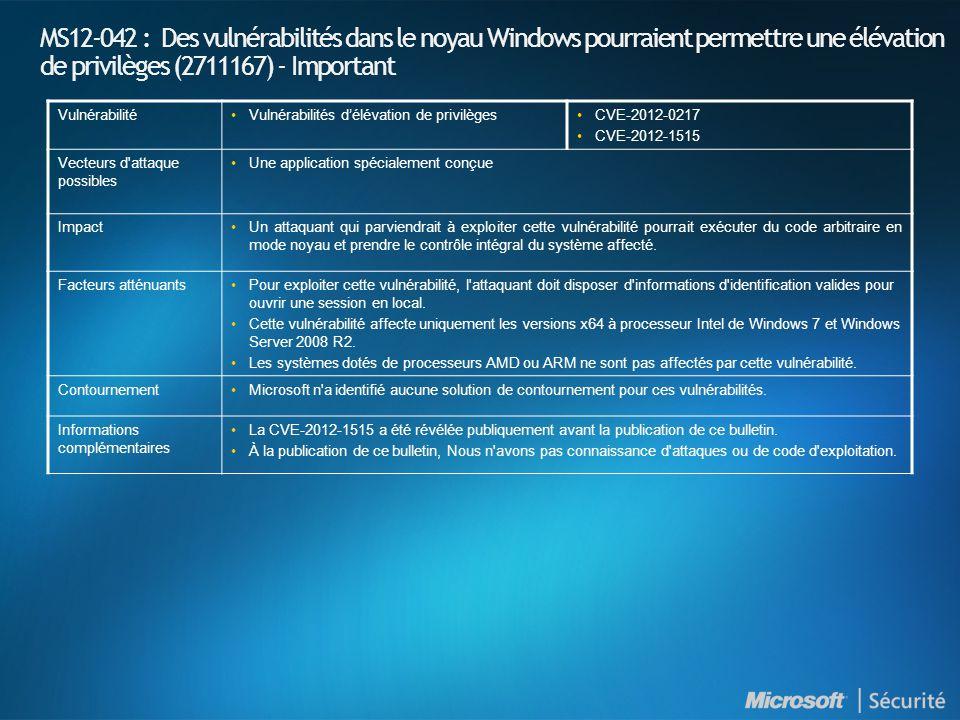 MS12-042 : Des vulnérabilités dans le noyau Windows pourraient permettre une élévation de privilèges (2711167) - Important VulnérabilitéVulnérabilités délévation de privilègesCVE-2012-0217 CVE-2012-1515 Vecteurs d attaque possibles Une application spécialement conçue ImpactUn attaquant qui parviendrait à exploiter cette vulnérabilité pourrait exécuter du code arbitraire en mode noyau et prendre le contrôle intégral du système affecté.