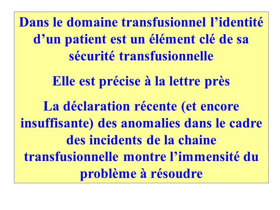 Dans le domaine transfusionnel lidentité dun patient est un élément clé de sa sécurité transfusionnelle Elle est précise à la lettre près La déclaration récente (et encore insuffisante) des anomalies dans le cadre des incidents de la chaine transfusionnelle montre limmensité du problème à résoudre
