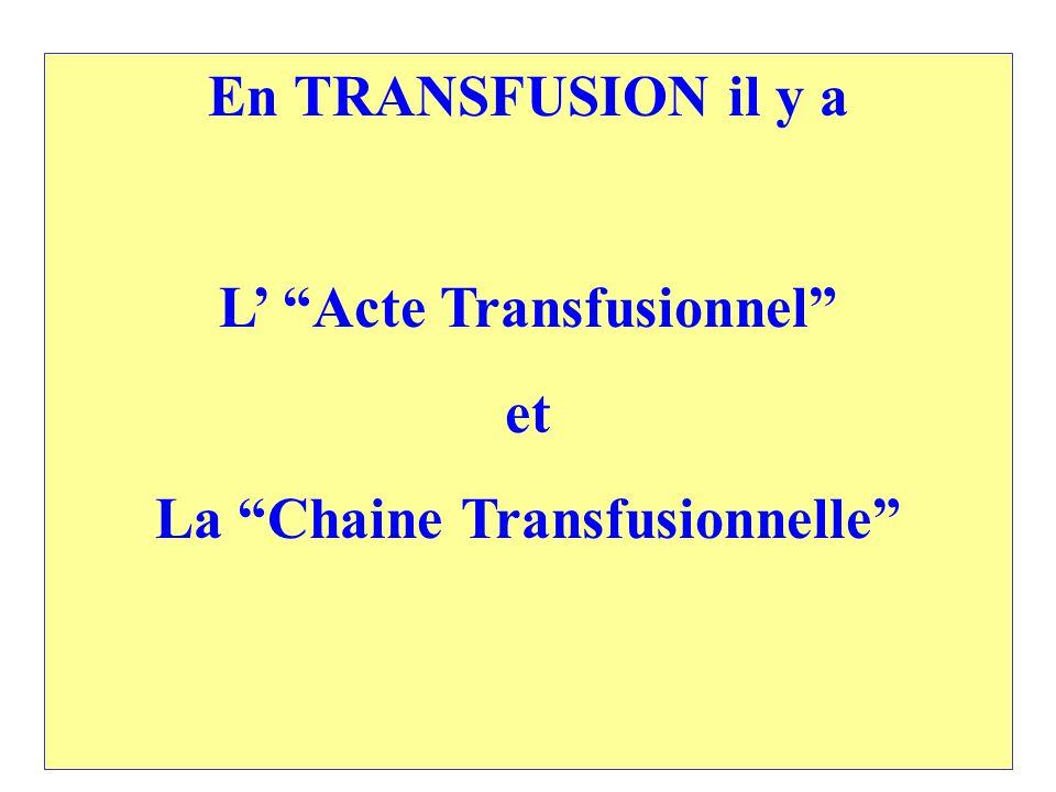 En TRANSFUSION il y a L Acte Transfusionnel et La Chaine Transfusionnelle