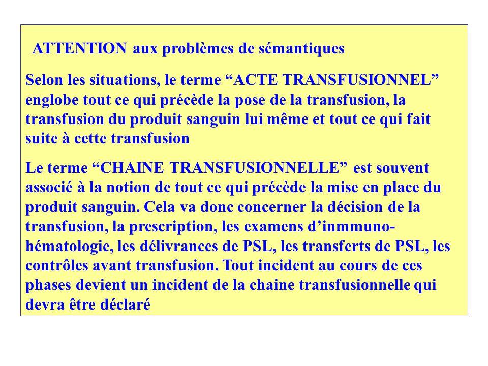 ATTENTION aux problèmes de sémantiques Selon les situations, le terme ACTE TRANSFUSIONNEL englobe tout ce qui précède la pose de la transfusion, la transfusion du produit sanguin lui même et tout ce qui fait suite à cette transfusion Le terme CHAINE TRANSFUSIONNELLE est souvent associé à la notion de tout ce qui précède la mise en place du produit sanguin.