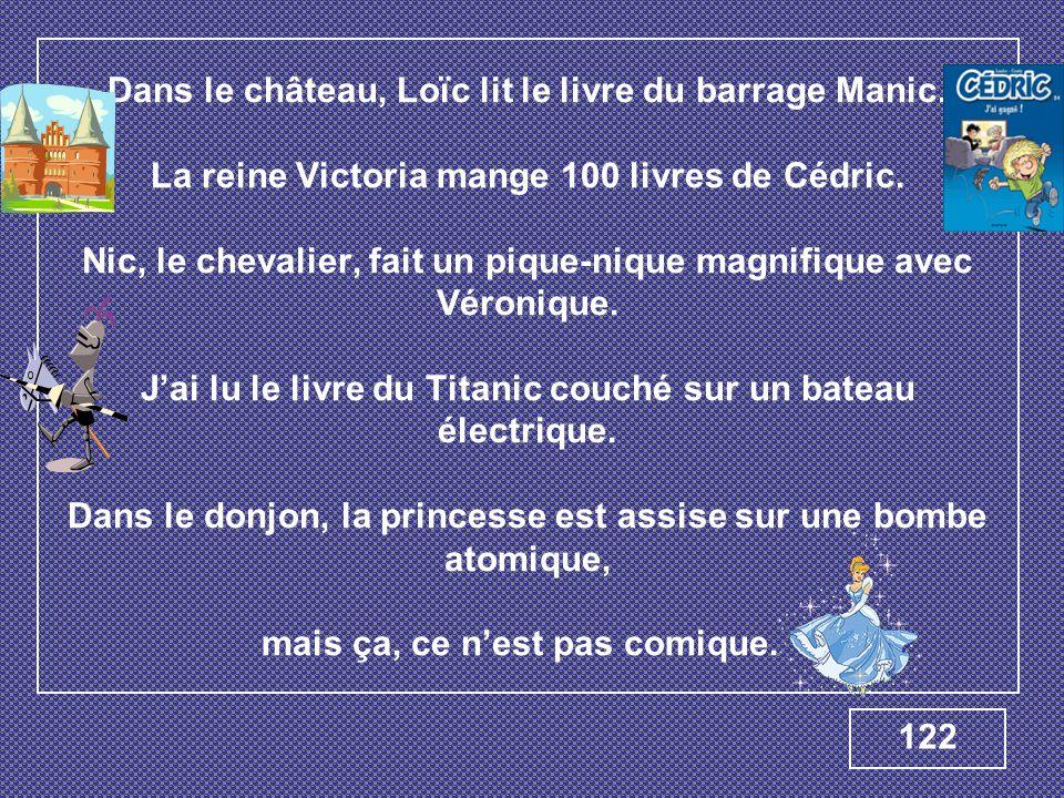 Dans le château, Loïc lit le livre du barrage Manic. La reine Victoria mange 100 livres de Cédric. Nic, le chevalier, fait un pique-nique magnifique a