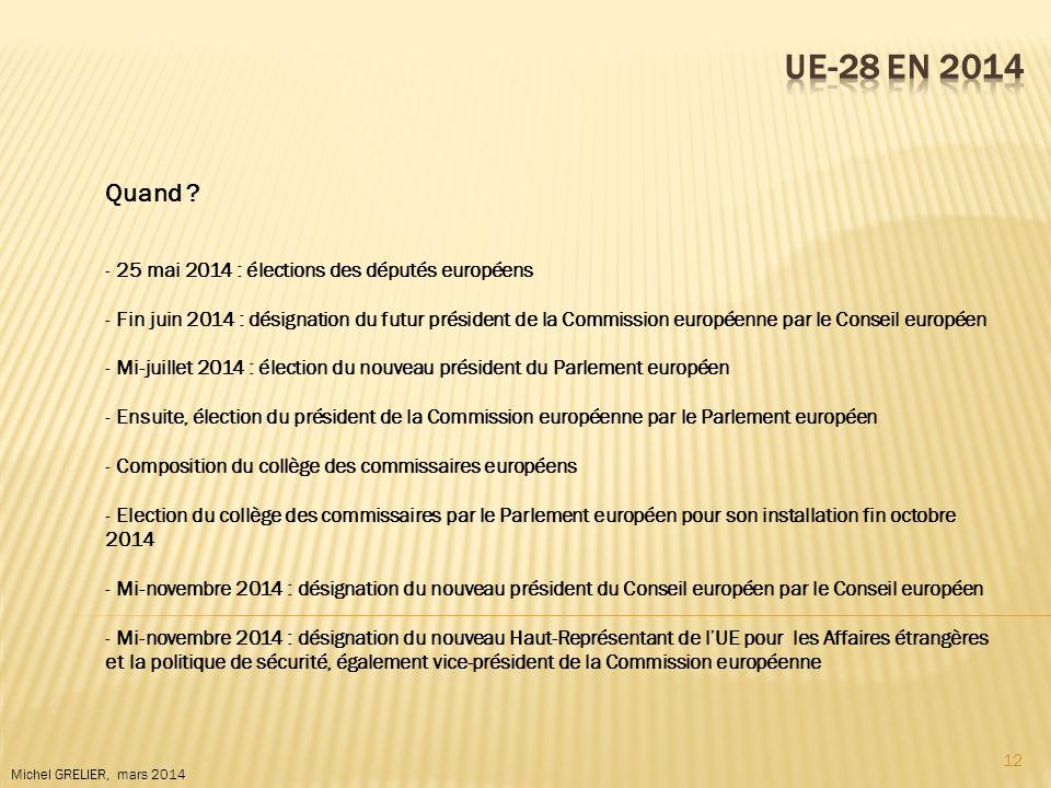 12 Michel GRELIER, mars 2014 Quand ? - 25 mai 2014 : élections des députés européens - Fin juin 2014 : désignation du futur président de la Commission