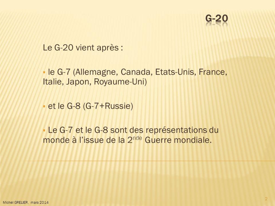 Le G-20 vient après : le G-7 (Allemagne, Canada, Etats-Unis, France, Italie, Japon, Royaume-Uni) et le G-8 (G-7+Russie) Le G-7 et le G-8 sont des repr