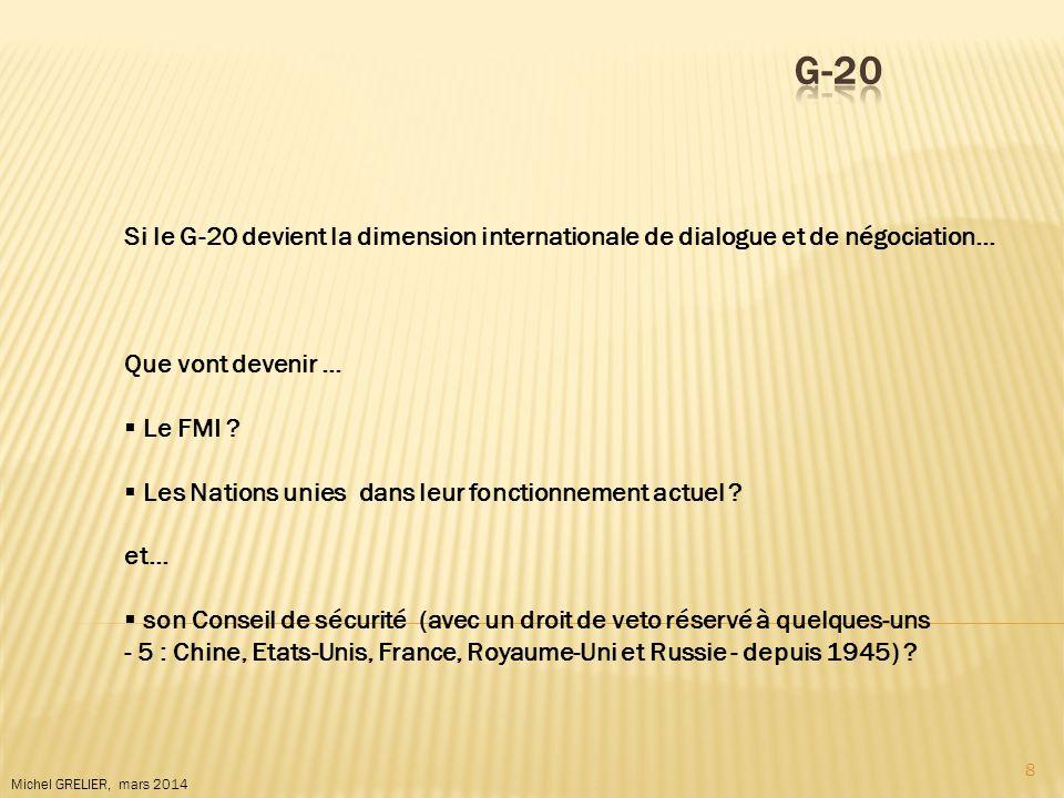 8 Michel GRELIER, mars 2014 Si le G-20 devient la dimension internationale de dialogue et de négociation… Que vont devenir … Le FMI ? Les Nations unie