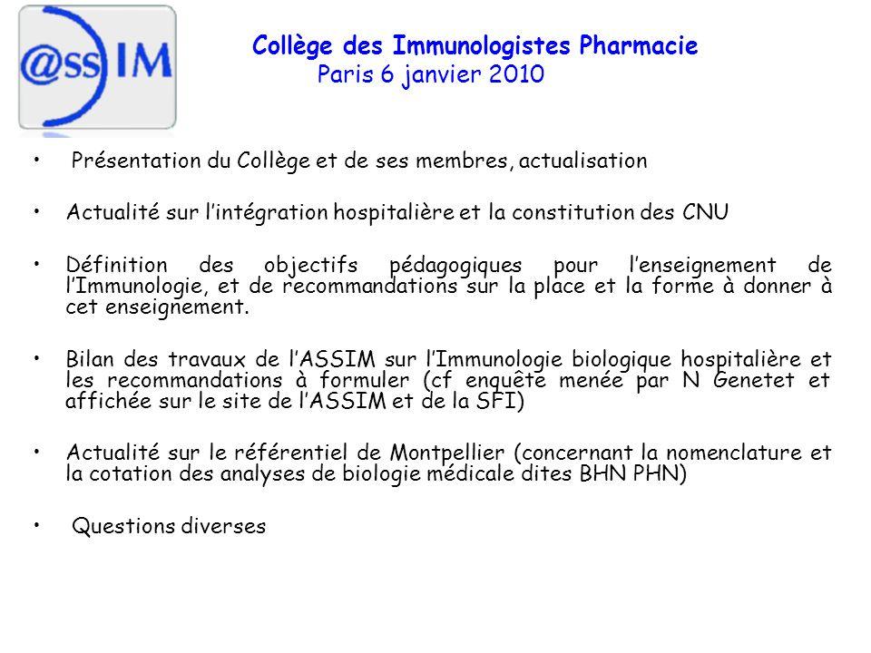 Collège des Immunologistes Pharmacie Paris 6 janvier 2010 Présentation du Collège et de ses membres, actualisation Définition des objectifs pédagogiques pour lenseignement de lImmunologie, et de recommandations sur la place et la forme à donner à cet enseignement.