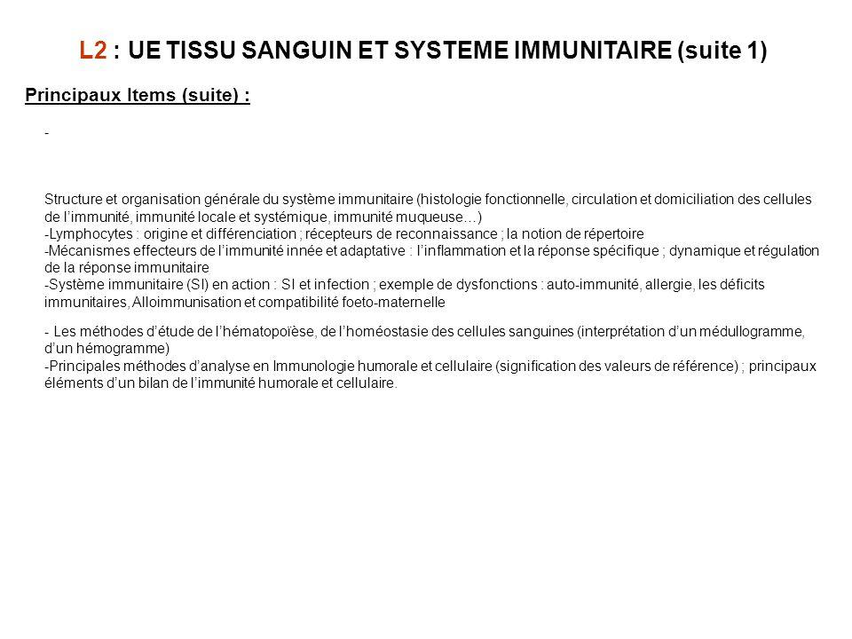 Principaux Items (suite) : - Structure et organisation générale du système immunitaire (histologie fonctionnelle, circulation et domiciliation des cel