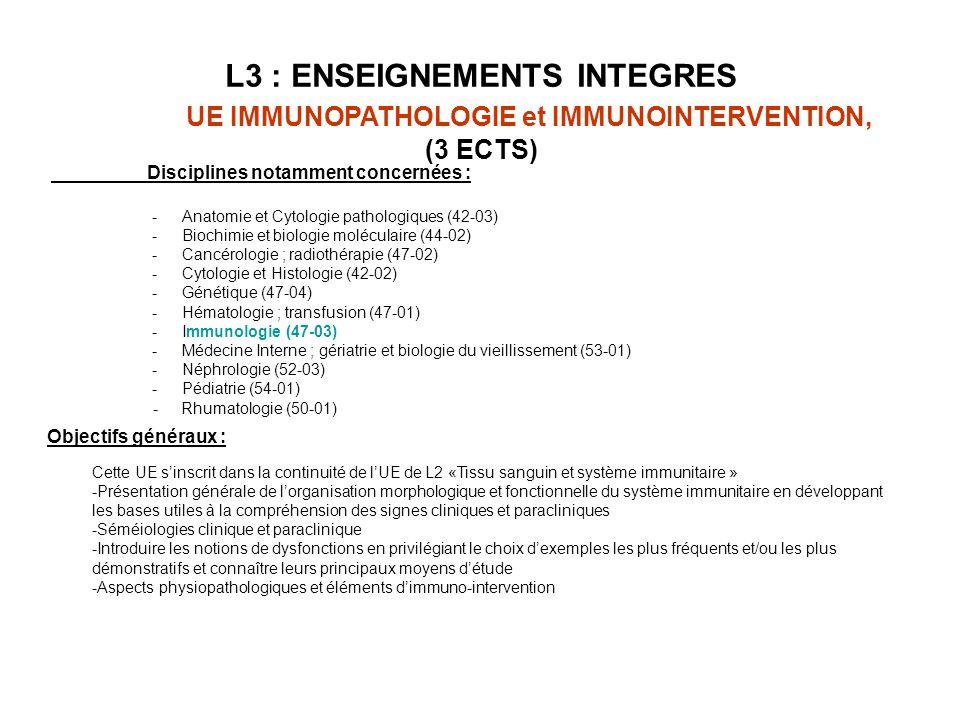 L3 : ENSEIGNEMENTS INTEGRES UE IMMUNOPATHOLOGIE et IMMUNOINTERVENTION, (3 ECTS) Objectifs généraux : Cette UE sinscrit dans la continuité de lUE de L2