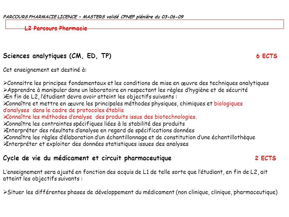 PARCOURS PHARMACIE LICENCE – MASTERS validé CPNEP plénière du 03-06-09 L2 Parcours Pharmacie Sciences analytiques (CM, ED, TP) 6 ECTS Cet enseignement
