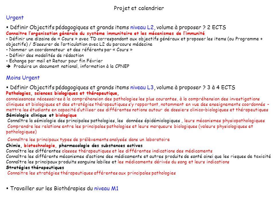 Projet et calendrier Urgent Définir Objectifs pédagogiques et grands items niveau L2, volume à proposer ? 2 ECTS Connaitre lorganisation générale du s